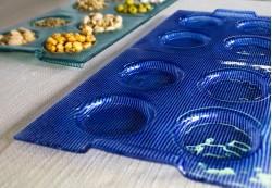 Bandejas de aperitivos en color azul y aguamarina
